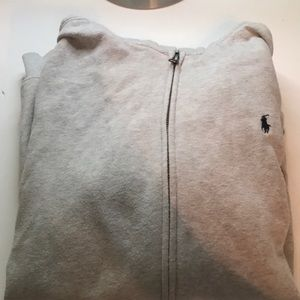 Grey polo zip up hoodie
